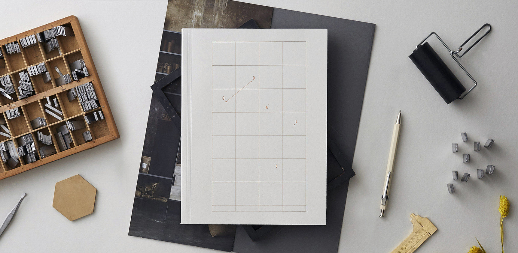 Goals – Pale Grey Notebook with Copper Foil