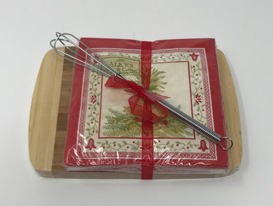 Cutting Board, Cocktail Napkins, and Whisk