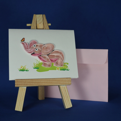 pink elephant card, a wish for you