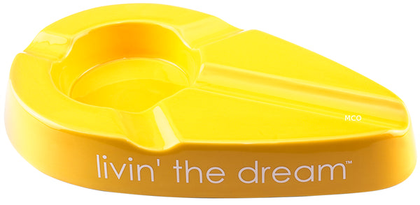 mycigarorder.com Xikar Livin' The Dream Cigar Ergonomic Yellow Ashtray New Gift Boxed 428LYL MCO
