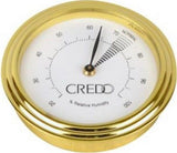 mycigarorder.com uk Credo Analogue Cigar Hygrometer - Round - Gold Colour Finish