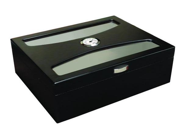mycigarorder.com Prestige Delano UV Glass Top Humidor - Black - 100 Cigar Capacity