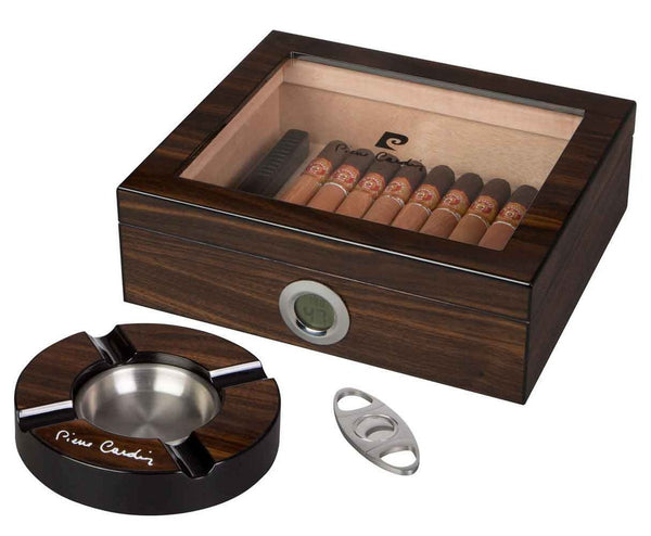 Pierre Cardin 20 Cigar Humidor Gift Set - with Ashtray and Cigar Cutter - PC-17