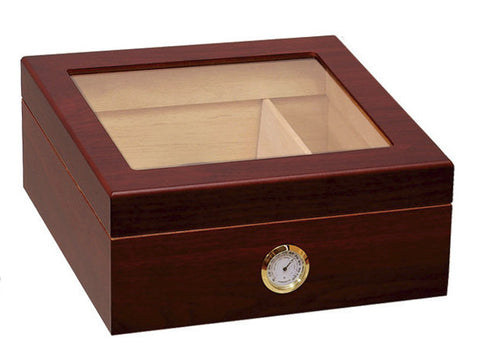 Prestige Chalet Glass Top Cigar Humidor - Cherry - 50 Cigar Capacity