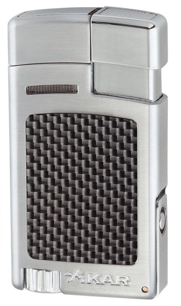 mycigarorder.com IKAR Forte - Single Jet Cigar Lighter - Silver Carbon Fiber - 523SLCF