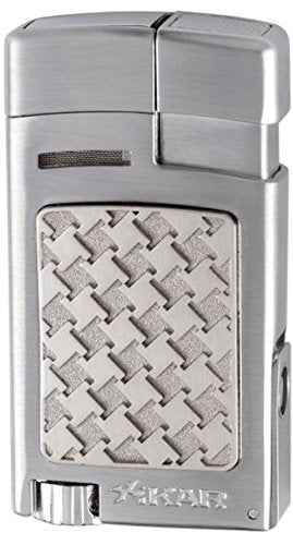 mycigarorder.com UK XIKAR Forte - Single Soft Flame Cigar Lighter - Silver Houndstooth - 524SLH