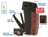 mycigarorder.com XIKAR Resource Pipe Lighter II - Black & Gunmetal (G2) - Soft Flame - 585BKG2 - my cigar order c
