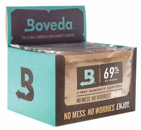 Boveda 69% RH 2-way Humidity Control, Large 60 gram size, 12-pack, individually wrapped.
