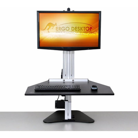 Ergo Desktop Electric Kangaroo Pro Adjustable Height Desk Front View Standing Position