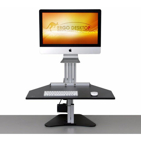 Ergo Desktop Electric MyMac Kangaroo Pro Adjustable Height Desktop Front View Standing Position