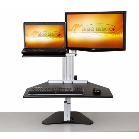 Ergo Desktop Hybrid Kangaroo Adjustable Height Dual Monitor Desktop with monitor and laptop