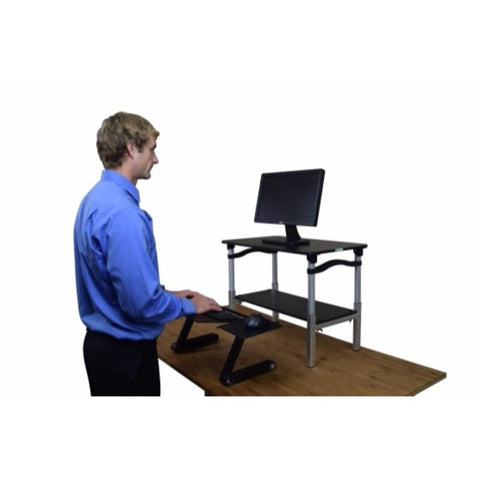 Uncaged Ergonomics LIFT Standing Desk Conversion Black Desk Black Keyboard Tray
