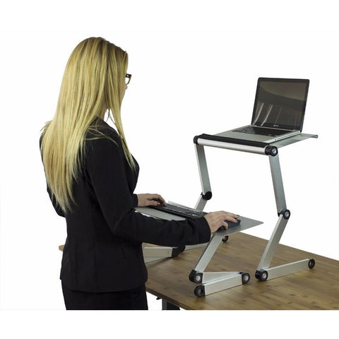 Uncaged Ergonomics WorkEZ Standing Desk Converter Silver Keyboard Tray
