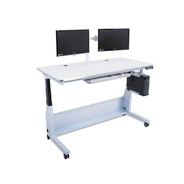 Versa Tables Edison Electric Standing Table Dual monitors White Surface
