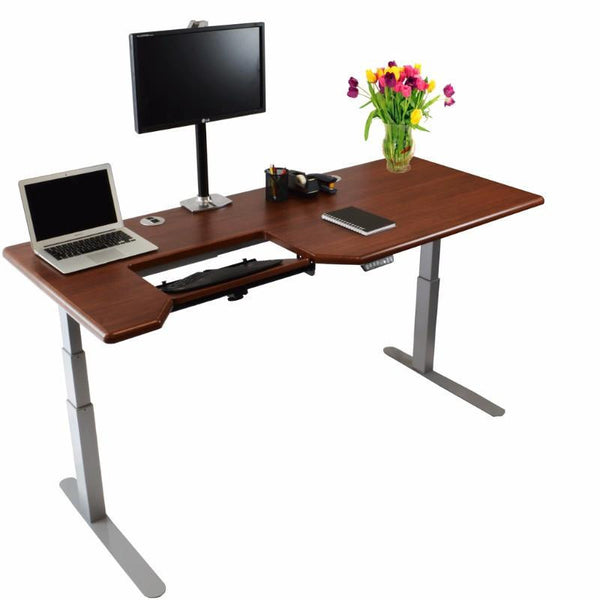 iMovR Omega Wood Color Everest Standing Desk & Keyboard Tray Shaker Cherry