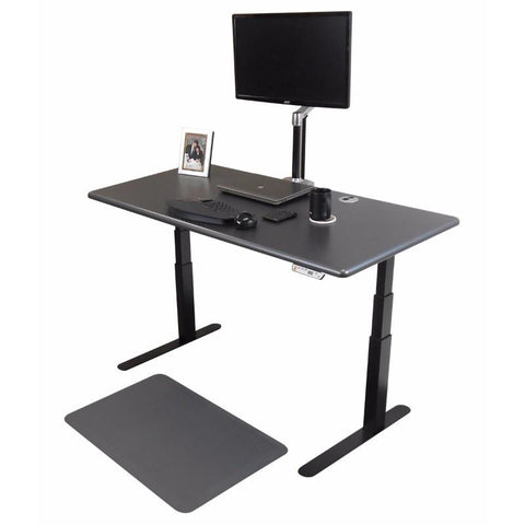iMovR ThermoDesk Elite Height Adjustable Standing Desk Shark Gray Desktop Black  Frame