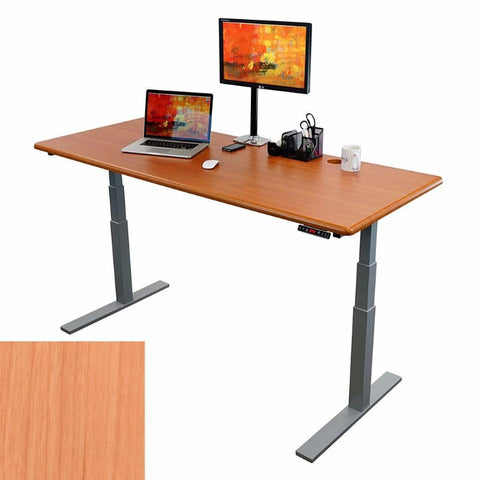 iMovR ThermoDesk UpTown Select Height Adjustable Standing Desk Almond Cherry Tabletop Silver Frame