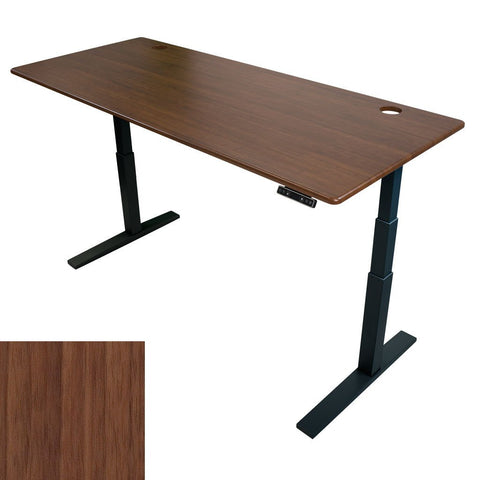 iMovR ThermoDesk UpTown Slim Height Adjustable Standing Desk Urban Walnut Tabletop Black Frame