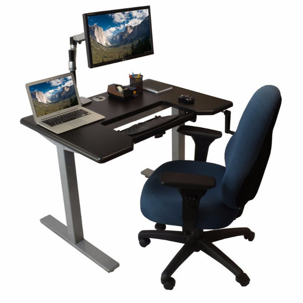 iMovr Omega Denali Standing Desk and Built-In Keyboard Tray Black Desktop Silver Frame Chair