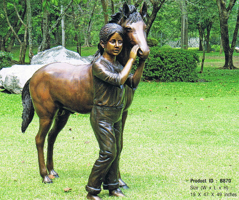 Bronze Statue - A Girl and Her Pony