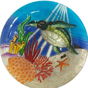 Hand Painted Turtle Glass Decorative Bowl 18 inch