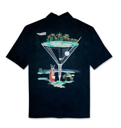 Bamboo Cay Par & Bar Black  Golf Embroidered Short Sleeve Shirt