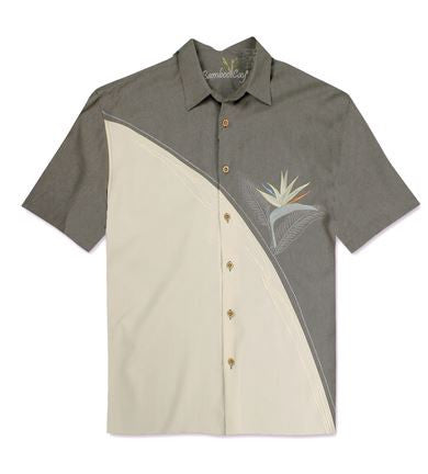Bamboo Cay Grey Bird of Paradise Short Sleeve Shirt