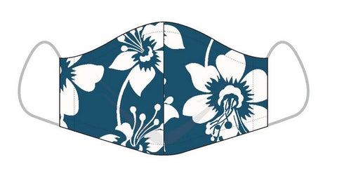 Reyn Spooner Face Mask Rain Lily Pareo-Navy and White