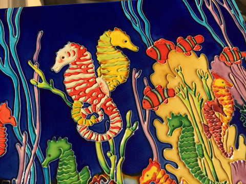 Unique Hand Crafted Ceramic Wall Decor Seahorses Playing