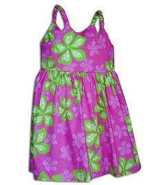 Girls Aloha Sundress Hot Pink and Green flowers