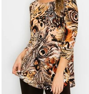Jostar Womens 3/4 Sleeve Animal Print