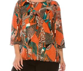 Jostar 3/4 Sleeve Rust, Black and Turquoise  Print Top