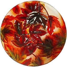 Hand Painted Autumn Fall Foliage  Decorative Glass Bowl 18 inch