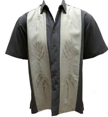 Bamboo Cay Paneled Bamboos Short Sleeve Shirt Grey and off White