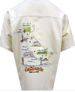 Bamboo Cay California Fun and Sun- Cream Color Short Sleeve Shirt
