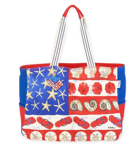 Red, White and Blue Travel Tote Bag or Beach Bag