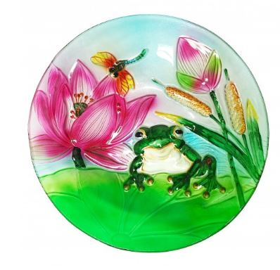 Unique Decorative Glass Bowl- Frog and Lotus