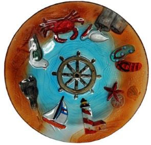 Hand Painted Nautical Life 18 inch Glass Bowl