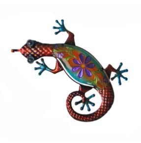Red  Glass & Metal Lizard Wall Decor- Reordered for August Delivery