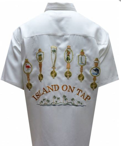 Bamboo Cay Island on tap white Short Sleeve Shirt