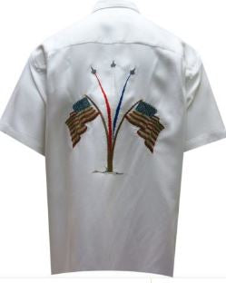 Bamboo Cay Embroidered USA Flag and Military Jets Short Sleeve Shirt