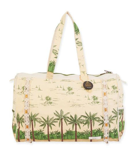 Travel Tote Bag Canvas by Paul Brent Palms Trees and Macrame trim
