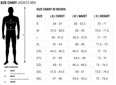 Rev'it Size Chart Jackets Men