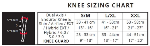 Leatt Knee guard size chart