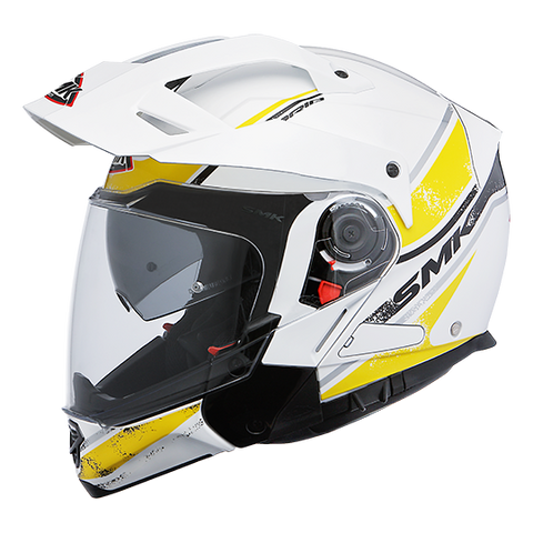 SMK Hybrid Evo Enduro Helmet Tide Gloss White Yellow (GL142), Flip Off Helmets, SMK, Moto Central