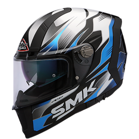 SMK Force Boost Gloss Black Blue (GL215), Full Face Helmets, SMK, Moto Central