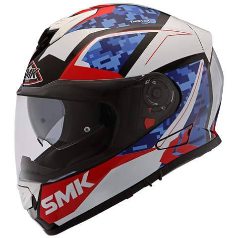 SMK Twister Zest White Blue Red Gloss (GL135), Full Face Helmets, SMK, Moto Central