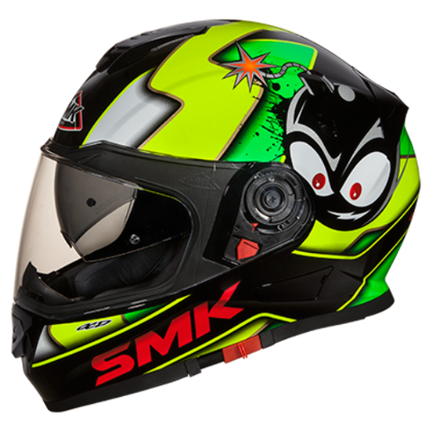 SMK Twister with Bluetooth Cartoon Black Yellow (GL241) Gloss, Full Face Helmets, SMK, Moto Central