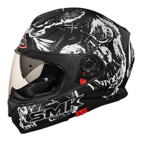 SMK Twister Skull Matt Black-White (MA210), Full Face Helmets, SMK, Moto Central