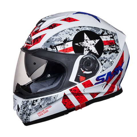 SMK Twister Captain Gloss White Red (GL163), Full Face Helmets, SMK, Moto Central